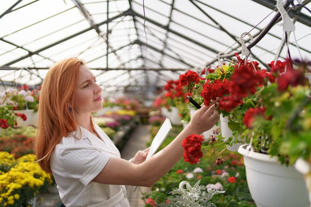 smart-greenhouse-control-female-worker-inspects-red-flowers-note-data-daylight_158595-7064